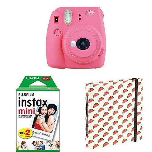 "Fujifilm Instax Mini 9 Flamingo Rosa + Doppelpackung 2x 10 Mini Instant Film + Mini Fotoalbum \""Melons\"""