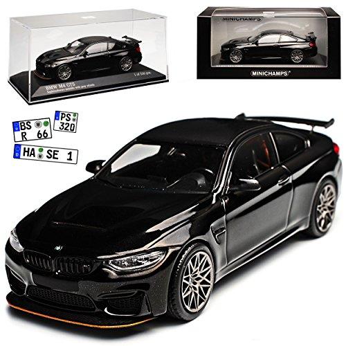 B-M-W 4er M4 GTS F82 Coupe Schwarz mit grauen Felgen Ab 2014 limitiert 336 Stück 1/43 Minichamps Modell Auto