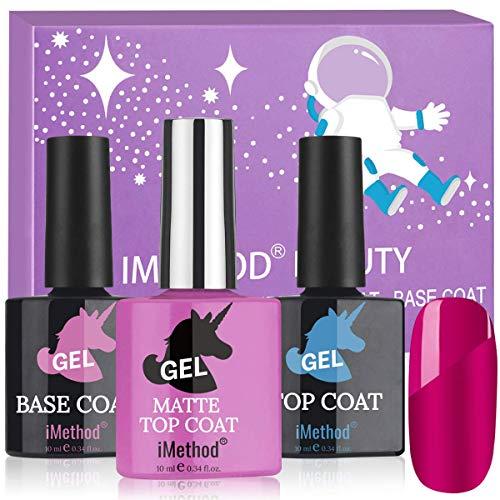 iMethod Gel Nail Polish - Matte Gel Top Coat, Shine No Wipe Gel Top and Base Coat, 0.34 Fl Oz/ 10 mL Each Bottle