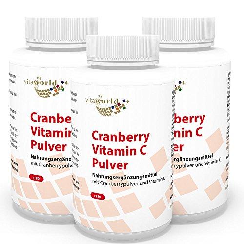 3er Pack Vita World Cranberry 400mg + Vitamin C 540 Kapseln Apotheker-Herstellung