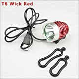 Bicicleta Luces Set 1800 lúmenes T6 L2 pesca bicicleta de la linterna LED resistente al agua USB Brillo 5V2A interfaz lámpara de la linterna-Golden_L2 (Color : RED T6)