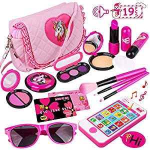 Beauty Shopping Kids Makeup Kit – Girl Pretend Play Makeup & My First Purse Toy for Toddler Gifts Including Pink Princess Purse…