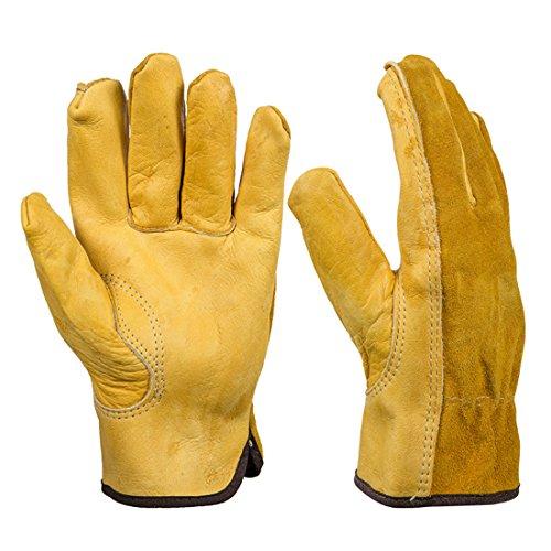 Godagoda Unisex Handschuhe Rutschfest Schnittfest Leder Wasserdicht Arbeitshandschuh für Küche Garten Outdoor