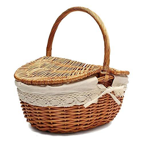 XKMY Cesta de la compra hecha a mano de mimbre con asa, cesta de mimbre para acampar con tapas dobles, cesta de almacenamiento de compras con forro de tela (color: color de madera, tamaño: M)