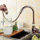 YSRBath contemporaneo Miscelatore monocomando per lavello da cucina Jade color oro rame tutti freddo di acqua calda 360 °becco orientabile singolo foro Bacino del bagno Rubinetti per lavello da cucina