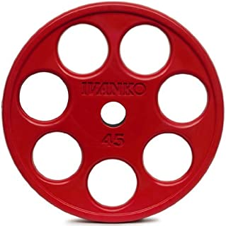 Ivanko Colored Rubber Encased EZ-Lift Red Olympic Plates With Holes 45 lb pair for use on Olympic bars