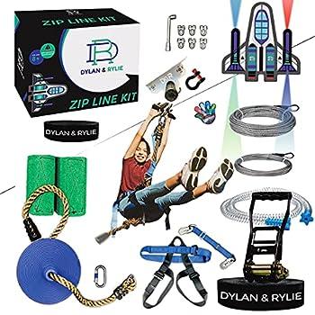 Zipline Kit - Zipline Kits For Backyard Zipline Kit For Kids And Adults 160ft Zip Line Kit With Brake Safety Harness Zipline Kit With Seat Backyard Zipline For Kids Zip Lines for Kids Outdoor