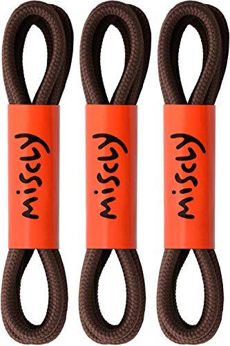 Miscly – Schnürsenkel Rund, Reißfest [3 Paar] für Sportschuhe, Sneaker und Stiefel – 100% Polyester - Ø 4 mm (114 cm, Braun)