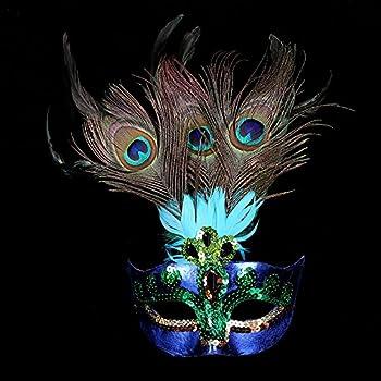 Womens Peacock Feather Mask Masquerade mask Mardi Gras Mask Women Party Fancy Dress Costumes Venetian Mask