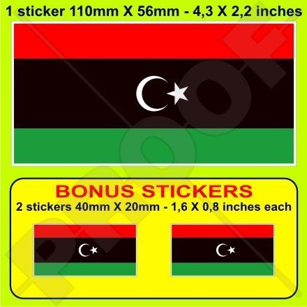 LIBYEN Libysche Ehemalige Flagge 110mm Auto & Motorrad Aufkleber, Vinyl Sticker x1+2 BONUS