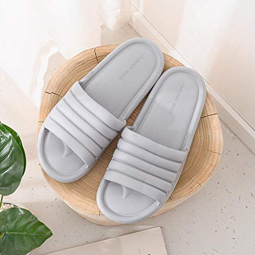 Zapatillas Casa Chanclas Sandalias Comfortable Indoor Slippers Women Bathroom Non-Slip Flat Slippers-Gris_41