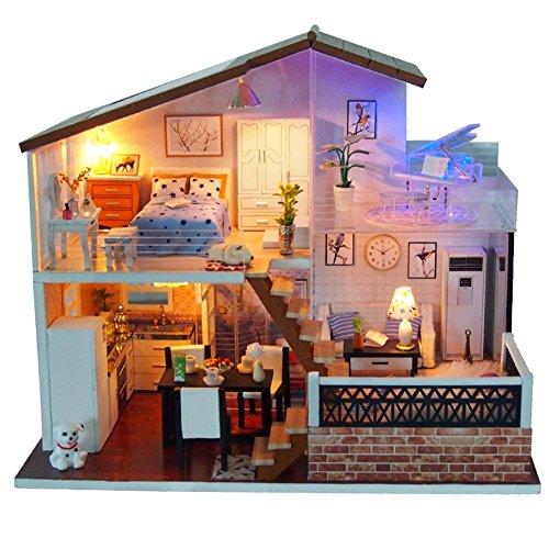 godbless Casa de Muñecas DIY con LED Luz Loft estilo DIY Doll House wünderschön gestaltetes Modelo Navidad Niños juguete regalo de cumpleaños