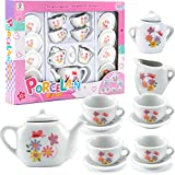 Liberty Imports 16 Piece Rose Flower Miniature Porcelain Ceramic Tea Set | Kids Toy Mini Pretend Play Kitchen Decorated Playset | Small Party Accessories Teapot, Cups, Sugar Bowl and Creamer