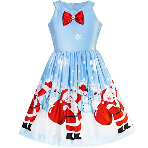 Sunny Fashion Vestido para niña Azul Navidad Papá Nieve Navidad Árbol Fiesta...
