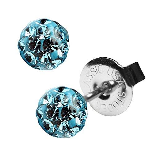 Shamballa Ohrstecker in verschiedenen Farben 4,5mm Farbe Hellblau 1 Paar