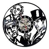 wtnhz LED Reloj de Pared de Vinilo Colorido Reloj de Pared de Vinilo diseño Moderno Tema de película de Detective Pegatina 3D Reloj de Disco de Vinilo Vintage Reloj de Pared decoración del hogar