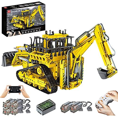 WWEI Excavadora de bloques de construcción técnicos, control remoto 2 en 1 y bulldozer con 6 motores, Mould King 17023, 3936 piezas bloques de construcción compatible con Lego