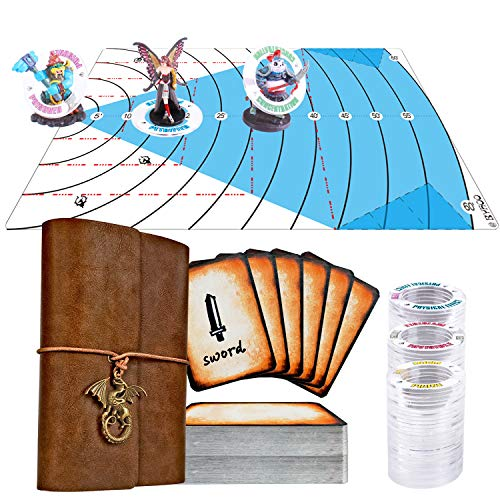 Byhoo D&D Accessories RPG Pocket Spellbook Cards Holder & 85 Pcs Dungeon and Dragon Condition Effects Markers Rings with 26 Status Tools & 60ft DND Spell AOE Damage Template Area Effect Markers