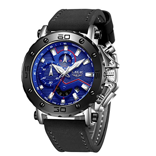 LIGE Relojes para Hombre Deportivo Impermeable Cuarzo Analógico para Hombre Prueba de Agua para Hombre Cronógrafo Dial Grande Moda Militar Reloj de Pulsera para Caballero de Cuero Negro