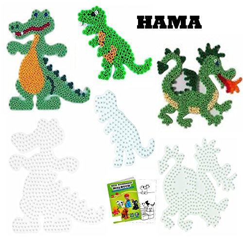HAMA Stiftplatten-Set für Midi Perlen Krokodil + Drache + Dinosaurier + Malbuch