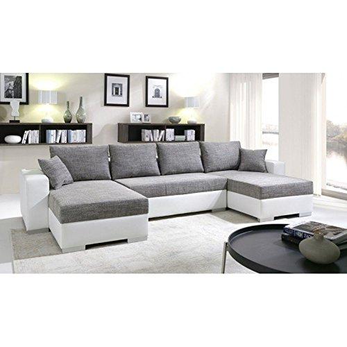 Canapé d'angle 6 places Blanc Cuir Panoramique