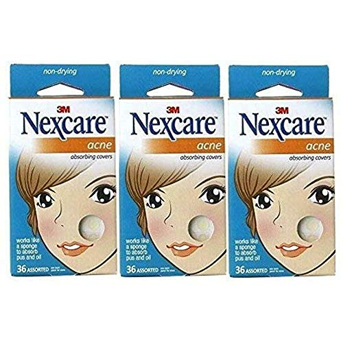 Nexcare Acne Absorbing Covers Assorted, 36 Count, Pack of 3