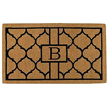 Home & More 180081830B Pantera Extra-Thick Doormat, 18  x 30  x 1.50 , Monogrammed Letter B, Natural/Black