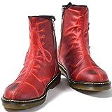 [ミハラヤスヒロ] MIHARA YASUHIRO 炙り出し ブーツ メンズ カジュアルシューズ クリアソール サイドジップ ショートブーツ 紳士靴 赤 レッド 40(約25.0cm)