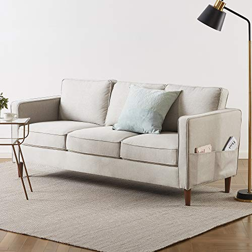 Mellow HANA Modern Loveseat / Sofa/Couch with Armrest Pockets, Sand Grey