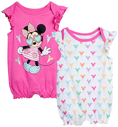Disney Baby Girls Romper 2 Pack: Minnie Mouse Ruffle Sleeve Romper (Newborn/Infant), Size 3-6 Months, Hot Pink Minnie./ White Multi Hearts