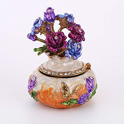GAL Exquisite Vase Styling Schmuckschatulle Mit Strass Home Wohnzimmer Büro Aufbewahrungsbox Dekoration Hochwertige Emaille Lackiert Metall Handwerk Geschenk (Farbe : Orange)