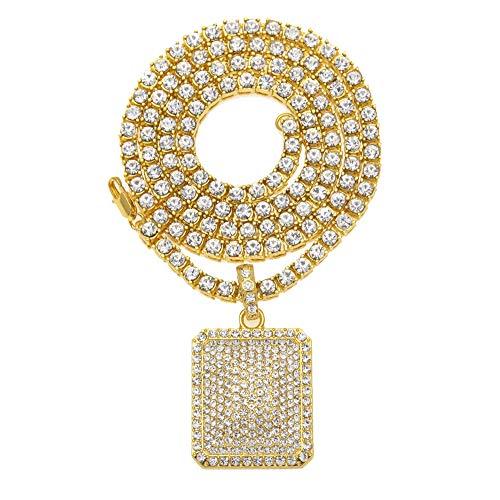 Hip-Hop - Collar con colgante militar en forma de arco, estilo hipster, punk, calle, hiphop, con brillantes, collar para hombres y mujeres, par de joyas (oro, plata), 123, dorado, talla