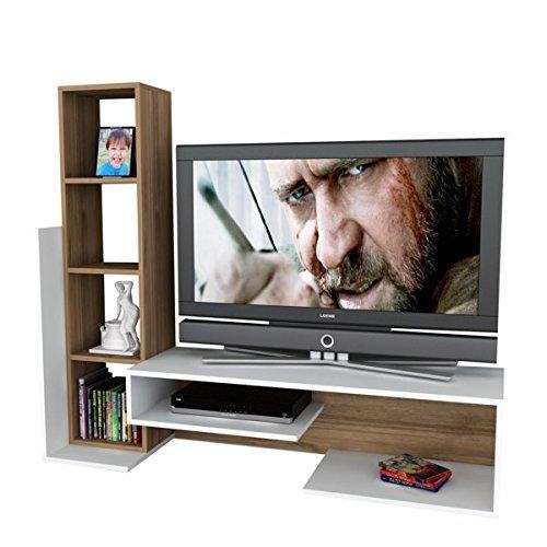 Alphamoebel TV Board Lowboard Fernsehtisch Fernsehschrank Sideboard, Fernseh Schrank Tisch für Wohnzimmer I Weiß Walnuss I Bend 2015 I 153,6 x 39 x 130,9 cm