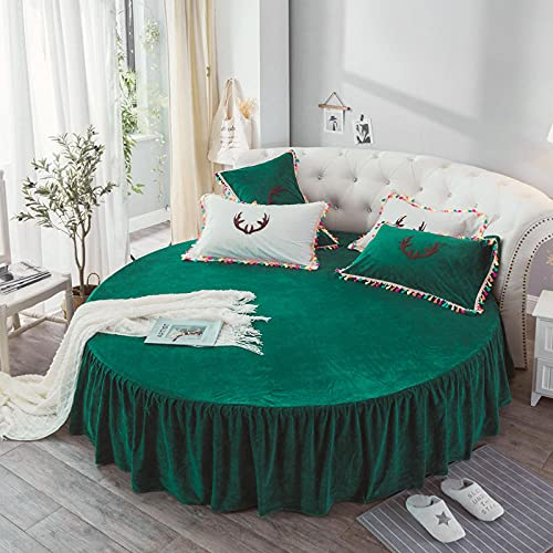 CYYyang Protector de colchón/Cubre colchón Acolchado, Ajustable y antiácaros. Falda de Cama Redonda de Felpa Falda de Cama Verde_2m