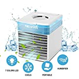 4-in-1 Mini Portable 10W Air Conditioner LED Noiseless Rechargeable USB Table Cooling Fan,500ML Water Tank,3 Gear Speed Cooler Fan with 7 Colors Light Changing for Home Office Bedroom