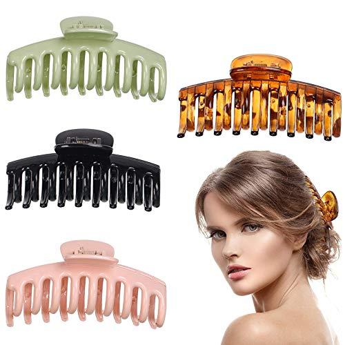 Tuofang 4 Pezzi Clip Capelli, Fermagli per capelli per le donne, Artigli Capelli Clip, per Capelli Antiscivolo in Plastica Molto Adatto per Capelli Folti Femminili