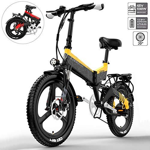 YMWD 20 Zoll Klapprad E-Bike 400W Fettreifen Elektrofahrrad Mountainbike Für Herren Und Damen Mit 48V 10.4-12.8Ah Lithium-Batterie Bis Zu 120 Km Reichweite Citybike,Gelb,12.8A