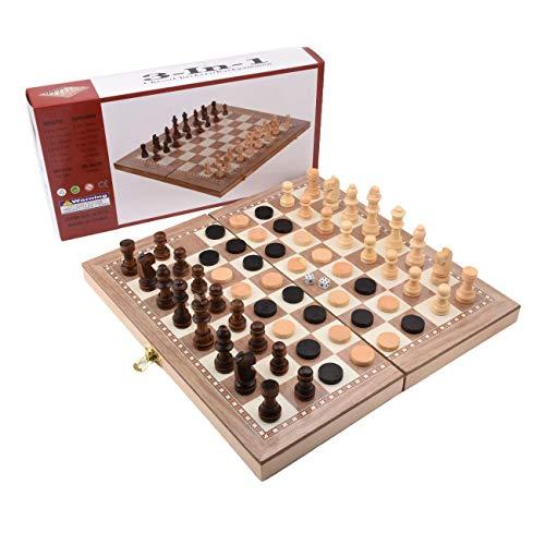 Zhangpu 3 en 1 Juego de ajedrez, Ajedrez de Madera, Tablero Ajedrez Magnetico, Ajedrez y Damas Plegable para Niños Viajar Pequeño Portátil 30x30cm