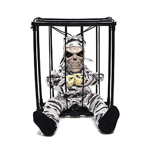 chengtengkejibaihuod Halloween Dekoration Käfig Geist Anhänger Elektrische Knifflige Requisiten Leuchten Spielzeug Käfig Geist 23 * 15 * 27,5 cm/Silber
