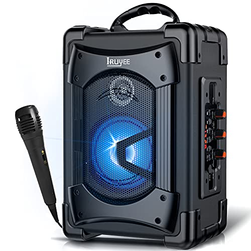 IRUYEE Karaoke Machine with Microphone,PA System Portable Bluetooth Subwoofer Heavy Bass Wireless Speaker MP3 Player, FM Radio,TF Card,USB Playback,Audio Recording for Indoors and Outdoor Party,Black