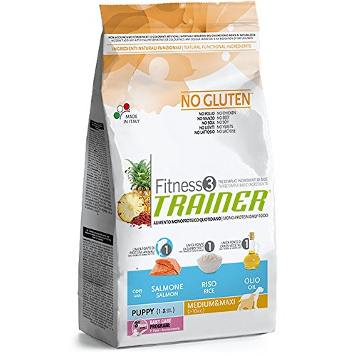 Trainer Fitness 3 No Gluten Puppy Medium&Maxi Salmone Mais Olio 12,5kg