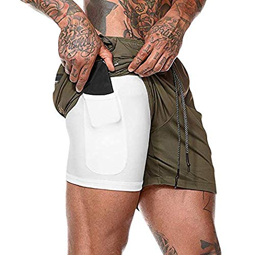 Malavita Men's Workout Running Shorts 2 in 1 with Zipper Pockets Army Green X-Large(Waist:31.5