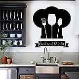 WERWN Cocinar calcomanías de Pared Gorro de Chef Logotipo de Alimentos y Bebidas Puertas y Ventanas Pegatinas de Vinilo Cocina Restaurante decoración de Interiores Papel Tapiz Creativo