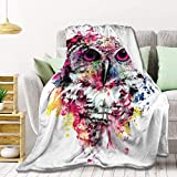 AMITAYUS Owl Fleece Throw Blanket Lightweight Super Soft Flannel Bed Blanket Perfect Home Decor for Couch Chair Sofa Living Room 50'X40' Small