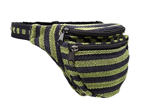 Riñonera Negro/Verde Rayas–Algodón
