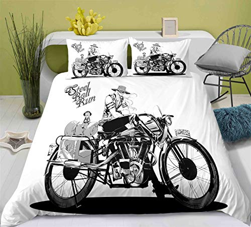 Kssmice Student Dormitory Duvet Cover, Cartoon Character Print JoJo's Bizarre Adventure, Single/double Size Duvet Cover, Soft And Smooth Fabric, Bedroom Decoration Bedding (Size : US Twin172x218)