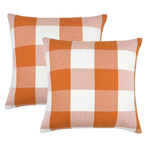 4TH Emotion Set of 2 Farmhouse Buffalo Check Plaid Throw Pillow Covers Cushion Case Cotton Linen for Fall Home Decor Orange and White, 18 x 18 Inches