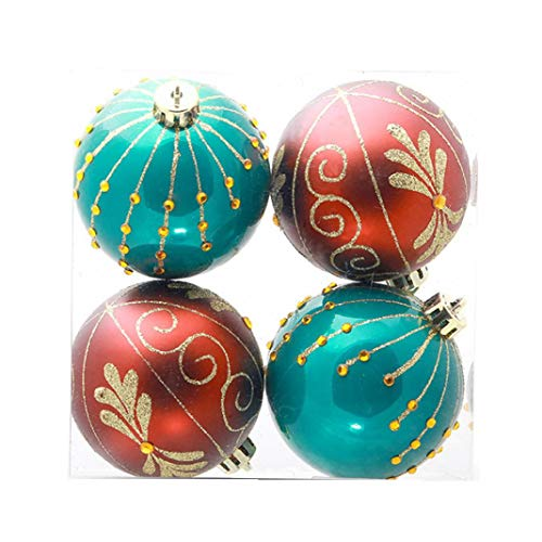 Luwsldirr 4Pcs Christmas Tree Hanging Decor Round Floral Print Ball Baubles Home Party