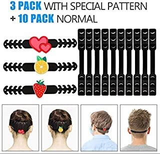 Aquarium Choice 10 Packs Adjustable Adult Kids mask Strap Extender Plus 3 Pack Face Mask Strap Extender Holder with Special Pattern for avoiding Ear Smelling and Ear Paining