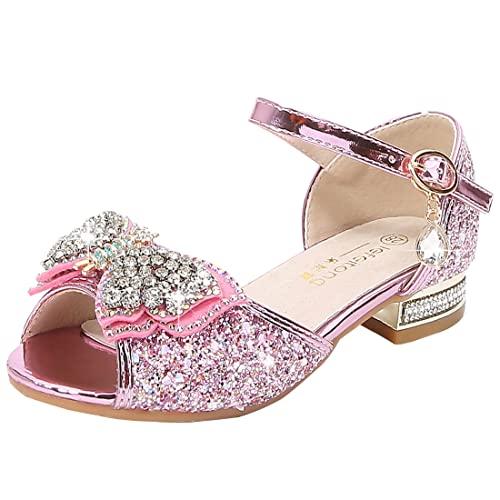 YOSICIL Zapatos Princesa Bailarinas Mariposa Zapatos Tacón Lentejuelas Sandalias de Fiesta Boca de Pez Zapatillas para Disfraz Sirenita Sofia Elsa Cosplay Cumpleaños